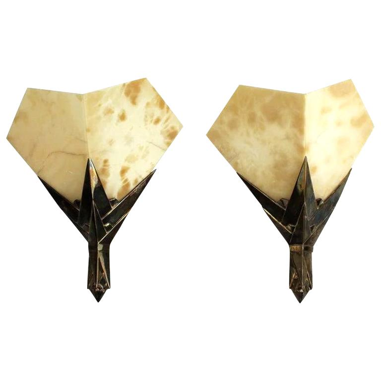 Wall Sconces by Albert Cheuret For Sale