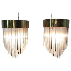 Wall Sconces in Brass and Glass Made in Italy