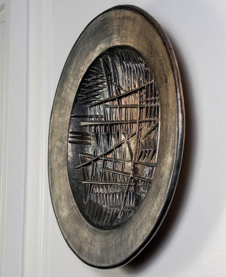 Italian Wall Sculptural Ceramic Plate by Arnaldo Pomodoro For Sale