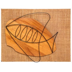Wall Sculpture, Mid-Century, Fish Motif, Wood, Modern Art, circa 1950