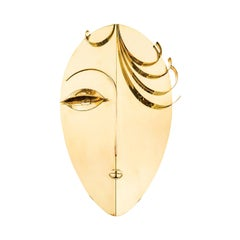 Wall Sculpture Head Austrian Design Werkstatte Hagenauer circa 1970 Brass