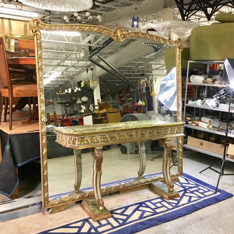Wall Size Italian Hall Mirror with Onyx Console For Sale 11