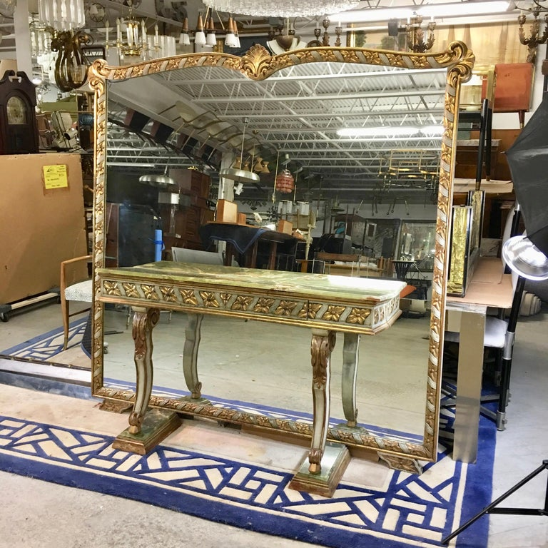 Wall Size Italian Hall Mirror with Onyx Console For Sale 12