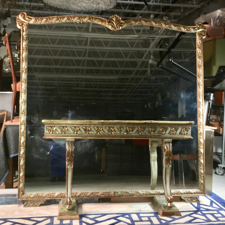 Hollywood Regency Wall Size Italian Hall Mirror with Onyx Console For Sale