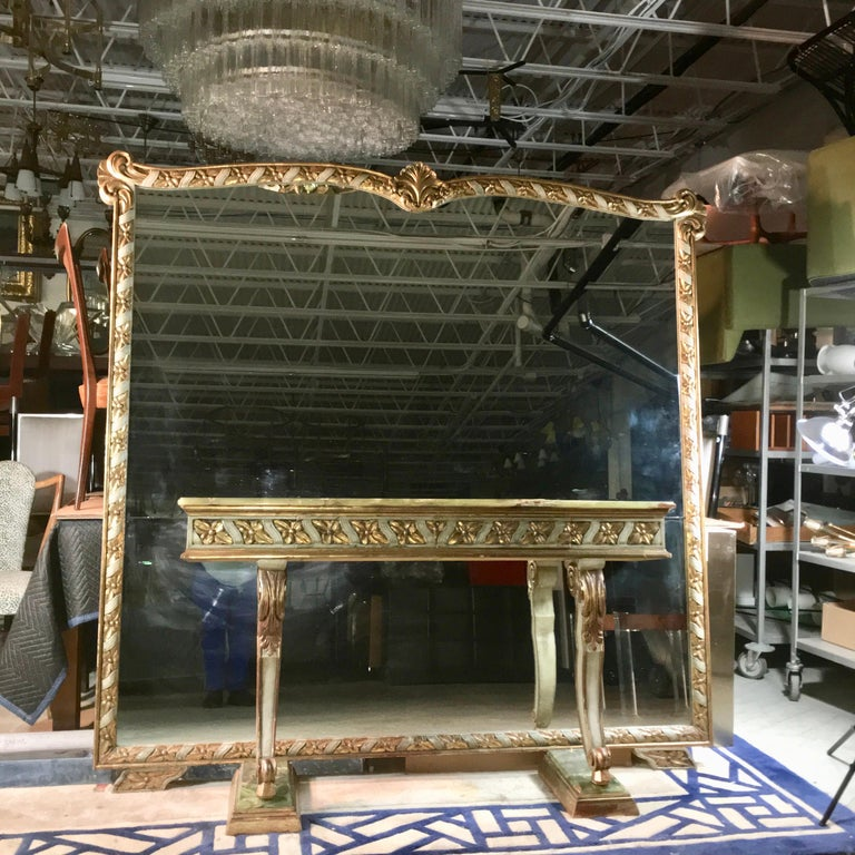 Painted Wall Size Italian Hall Mirror with Onyx Console For Sale