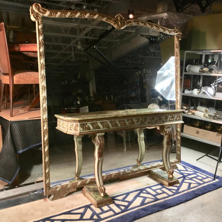 Wall Size Italian Hall Mirror with Onyx Console In Good Condition For Sale In Hingham, MA