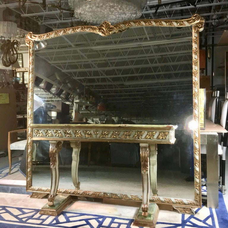 Mid-20th Century Wall Size Italian Hall Mirror with Onyx Console For Sale