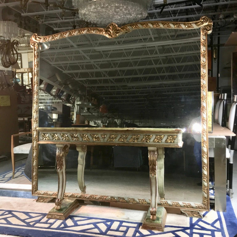 Wall Size Italian Hall Mirror with Onyx Console For Sale 1