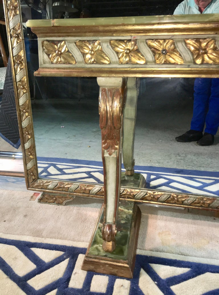Wall Size Italian Hall Mirror with Onyx Console For Sale 3