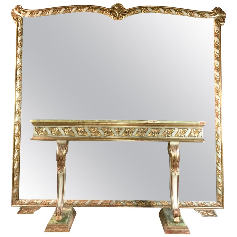 Wall Size Italian Hall Mirror with Onyx Console For Sale