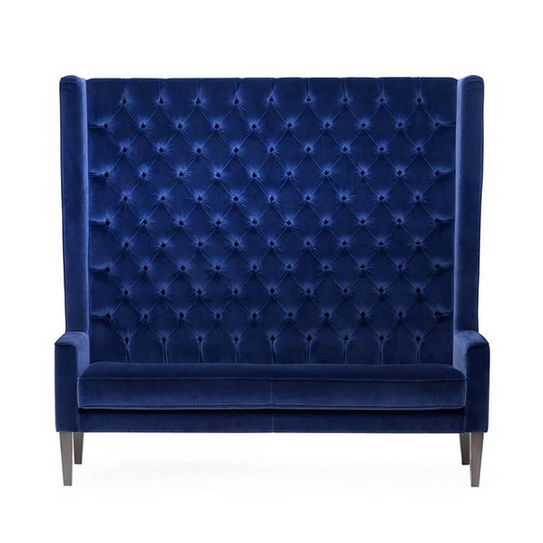 Italian Wall Sofa Capitonated with Red or Blue or Green Velvet For Sale