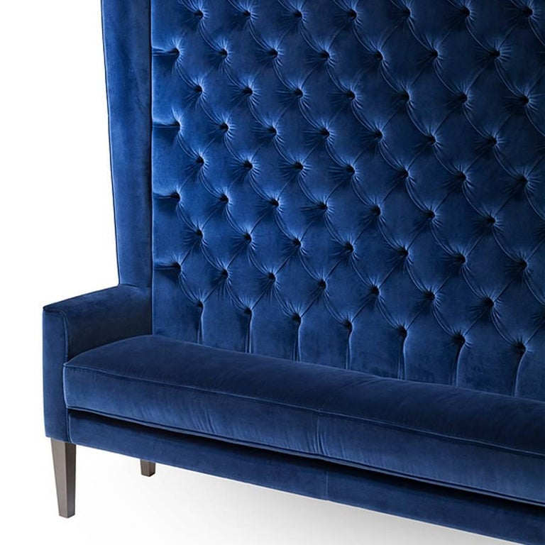 Hand-Crafted Wall Sofa Capitonated with Red or Blue or Green Velvet For Sale