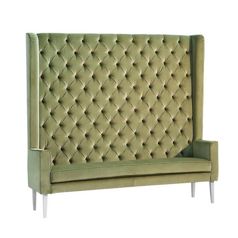 Contemporary Wall Sofa Capitonated with Red or Blue or Green Velvet For Sale