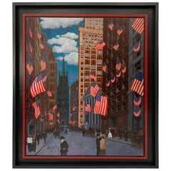 """Wall Street Oil Painting """"A Bullish Fourth"""" by Malcolm Schacter, New York"""