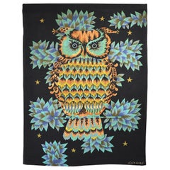 Wall Tapestry by Alain Cornic, Owl, Aubusson, 1950s