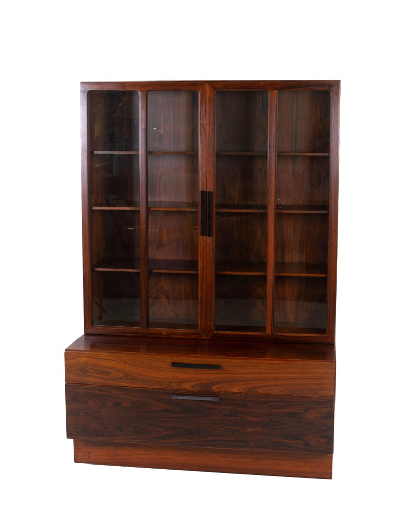 Wall Unit by Ib Kofod-Larsen for Faarup Møbelfabrik in Rosewood, Denmark 1960s In Good Condition For Sale In Hellouw, NL