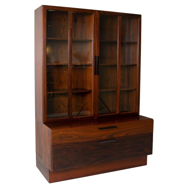 Wall Unit by Ib Kofod-Larsen for Faarup Møbelfabrik in Rosewood, Denmark 1960s For Sale