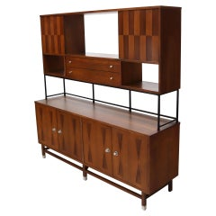 Wall Unit Long Credenza Hutch Top by Stanley in Walnut and Rosewood