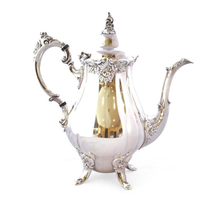 Wallace Baroque Silver Plate Tea Service For Sale 3