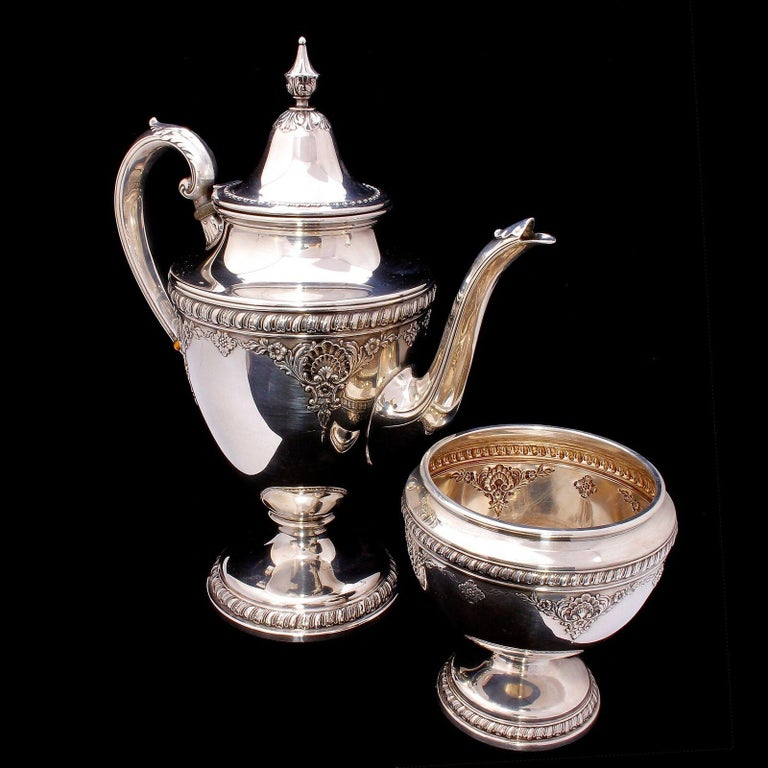 RARE Wallace Sir Christopher Sterling Silver 5 piece Coffee/Tea Set #4050  The rare and highly desirable Wallace Sir Christopher pattern sterling silver 5 piece coffee/tea set consisting of a coffee pot, tea pot, cream jug, sugar bowl with cover and