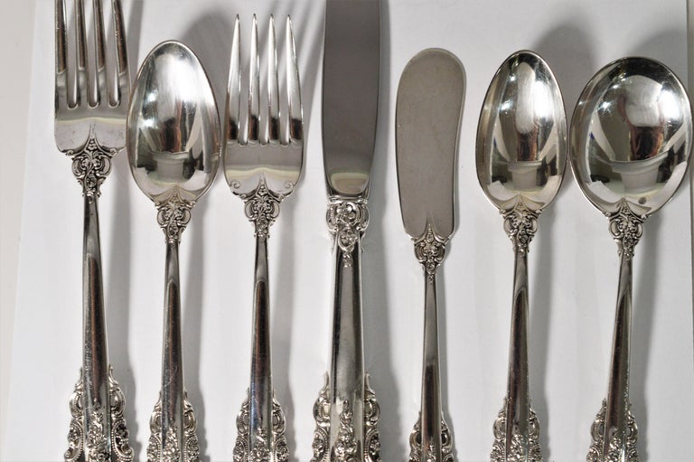 Wallace Sterling Silver Grande Baroque Seven Piece Flatware Place Setting For Sale 7