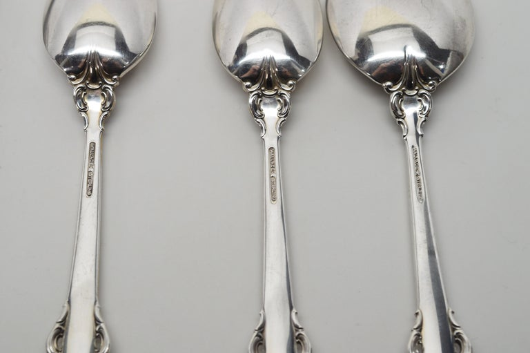 Women's or Men's Wallace Sterling Silver Grande Baroque Seven Piece Flatware Place Setting For Sale