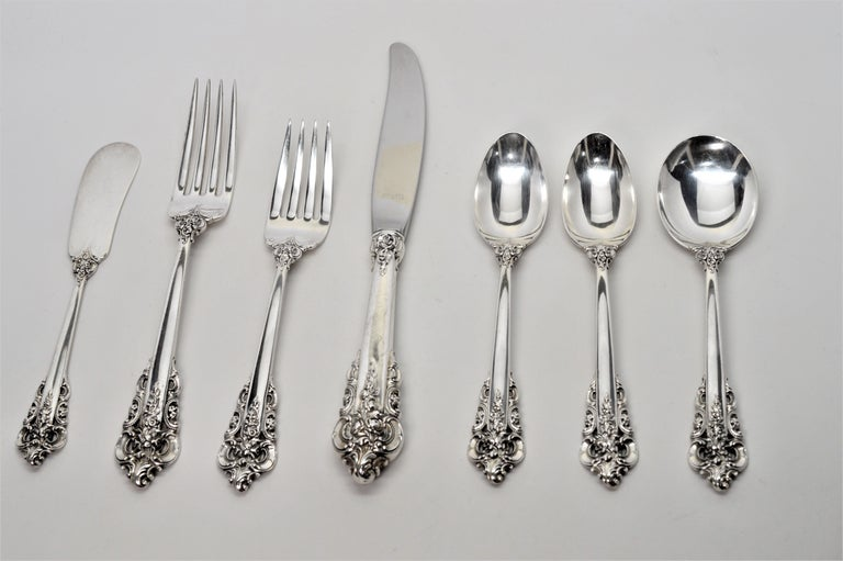 Wallace Sterling Silver Grande Baroque Seven Piece Flatware Place Setting For Sale 3
