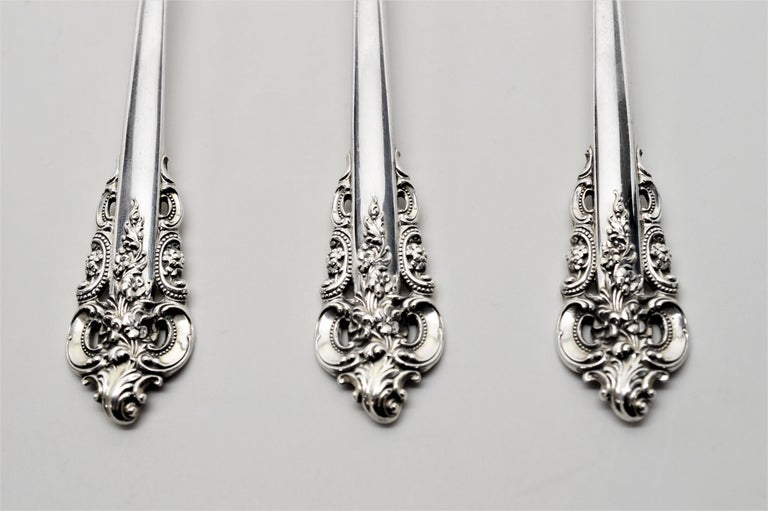 Wallace Sterling Silver Grande Baroque Seven Piece Flatware Place Setting For Sale 5