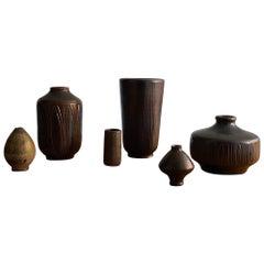 Wallåkra Keramik, 6 Vases, Earth-Tones, Glazed Stoneware, Sweden, 1960s