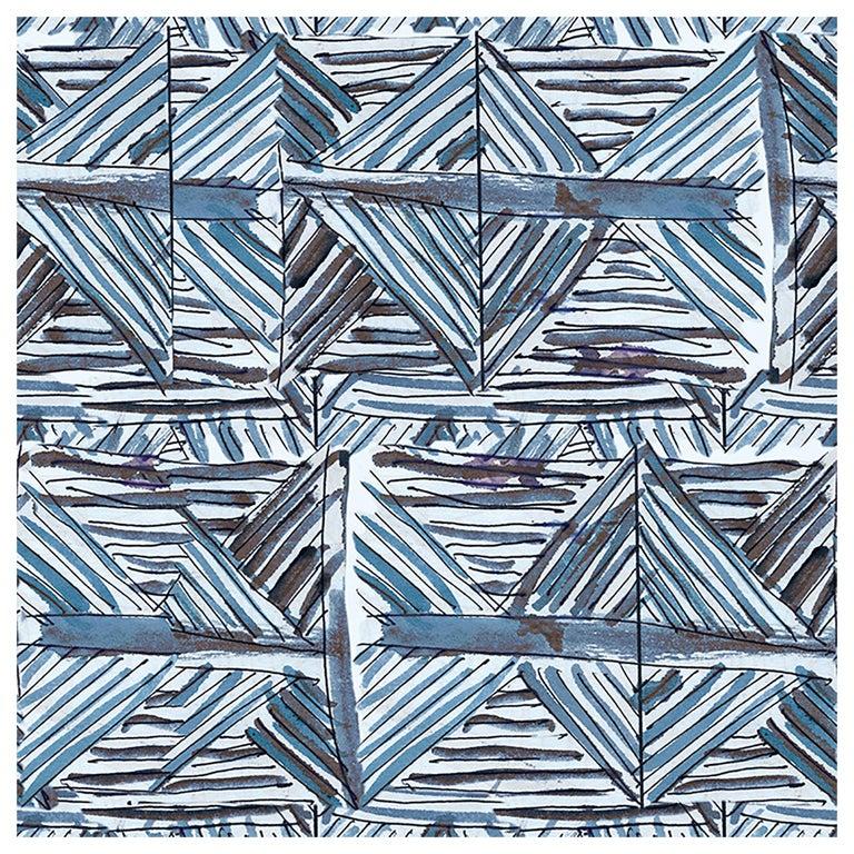 "Wall&decò Contemporary Wallpaper ""Imaginarium"", Color Variant MOD_WDIM1702 Blue For Sale"
