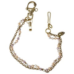 Wallet Chain Pearl and Brass Handmade