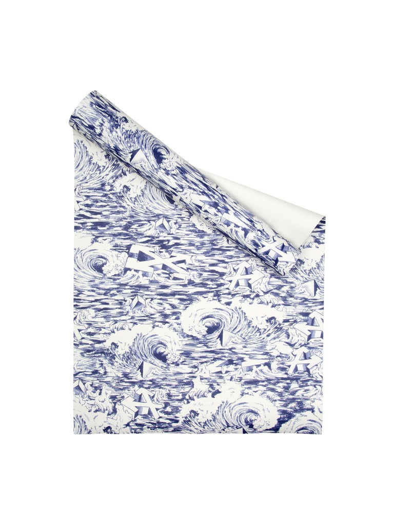 Off-White Wallpaper Waves White Blue For Sale