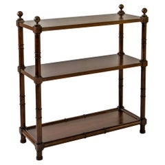 Walnut 3-Tier Étagère Bookcase with Brass Finials