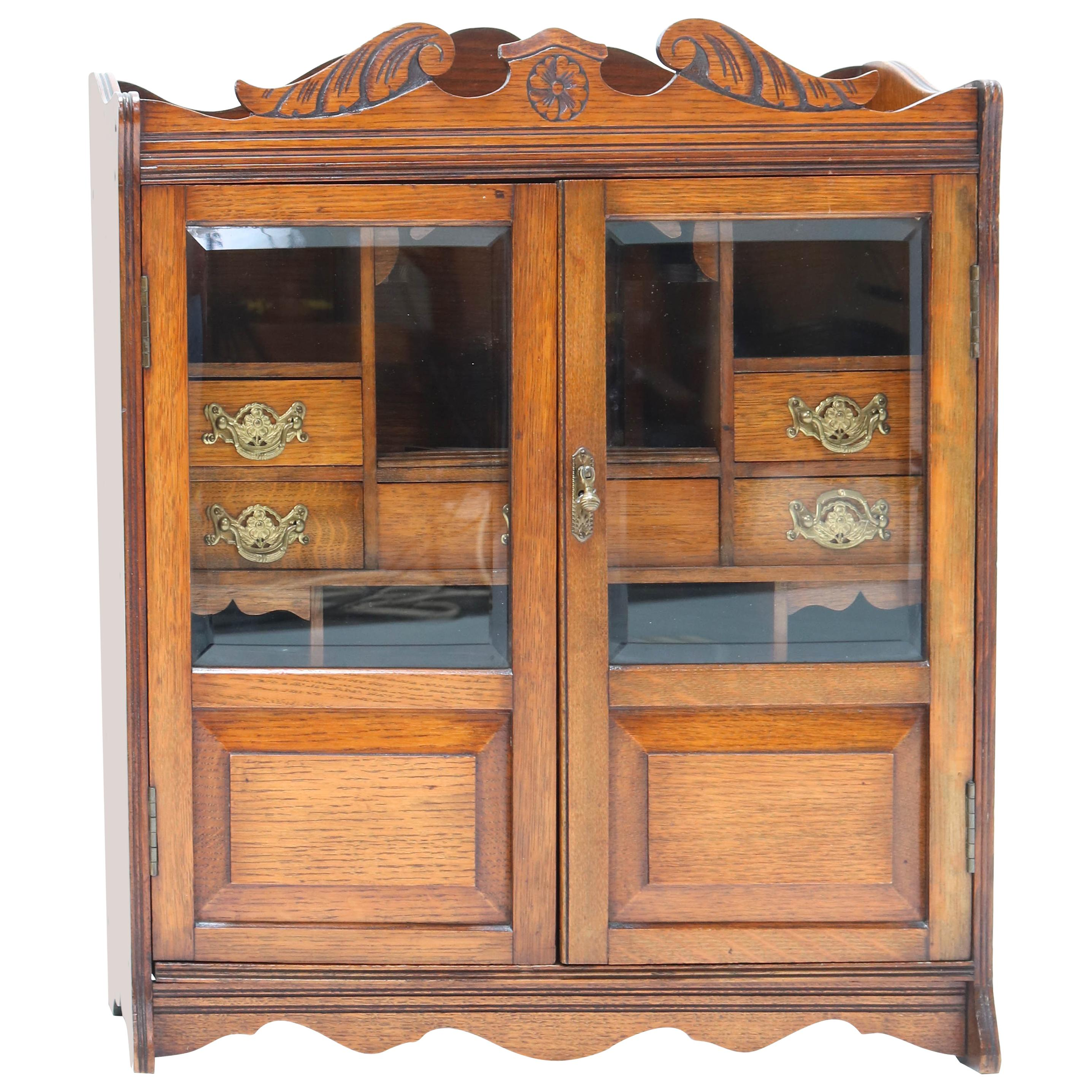 Walnut Aesthetic Movement Wall Cabinet, Late 19th Century