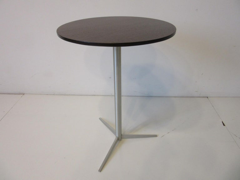 Mid-Century Modern Walnut / Aluminum Cigarette, Drink Side Table by Thonet For Sale