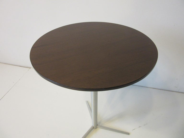 Walnut / Aluminum Cigarette, Drink Side Table by Thonet For Sale 1