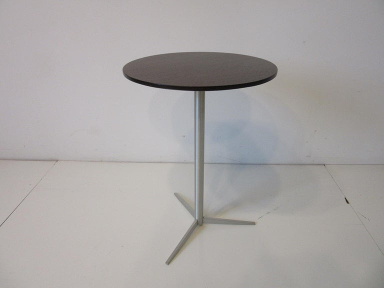 Walnut / Aluminum Cigarette, Drink Side Table by Thonet For Sale 3