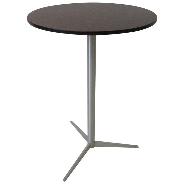 Walnut / Aluminum Cigarette, Drink Side Table by Thonet For Sale