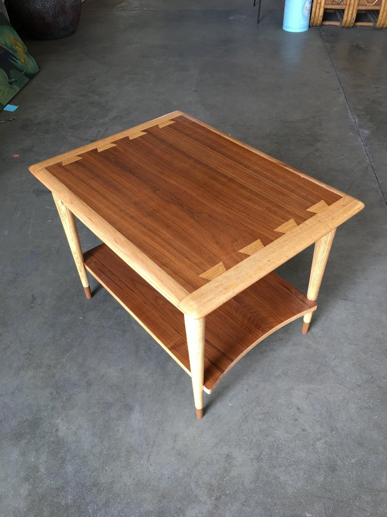 Mid-Century Modern Lane Acclaim Walnut and Ash Inlay Side Table Designed by Andre Bus For Sale