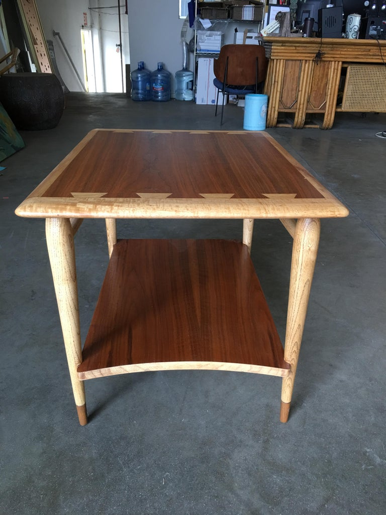 American Lane Acclaim Walnut and Ash Inlay Side Table Designed by Andre Bus For Sale