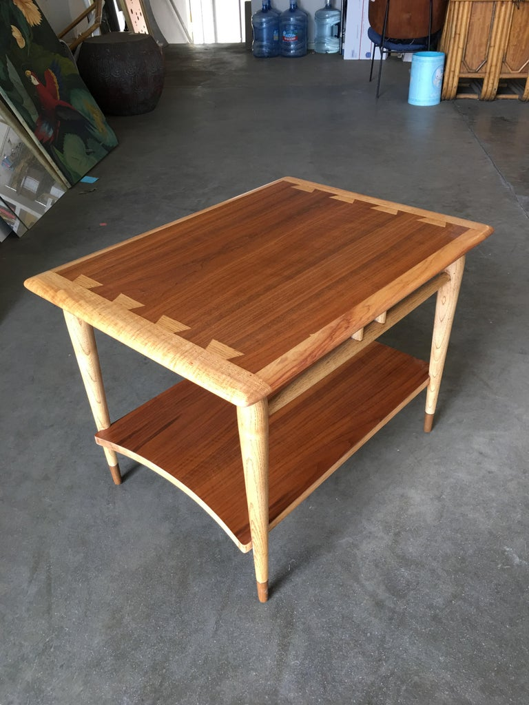 Lane Acclaim Walnut and Ash Inlay Side Table Designed by Andre Bus In Excellent Condition For Sale In Van Nuys, CA