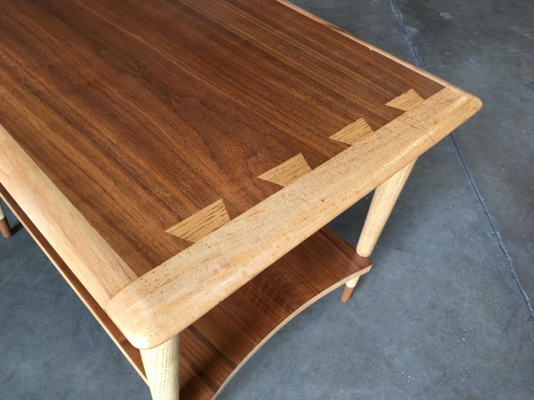 Mid-20th Century Lane Acclaim Walnut and Ash Inlay Side Table Designed by Andre Bus For Sale