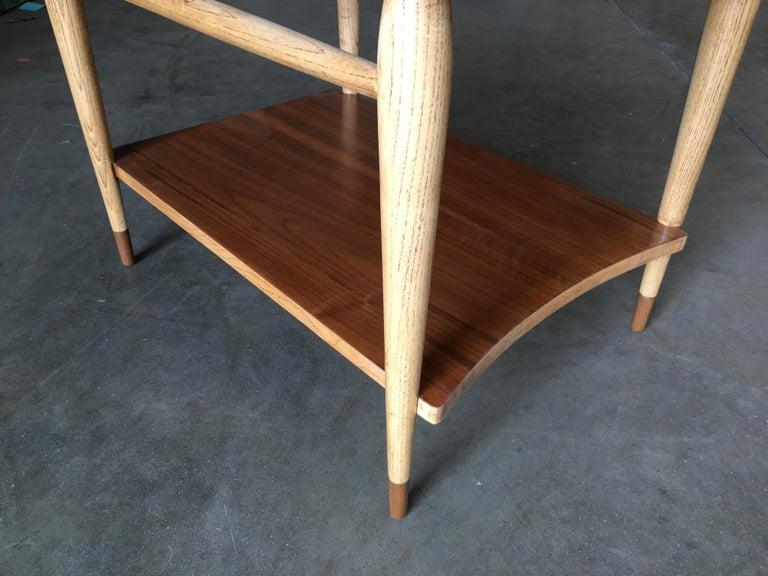 Lane Acclaim Walnut and Ash Inlay Side Table Designed by Andre Bus For Sale 1