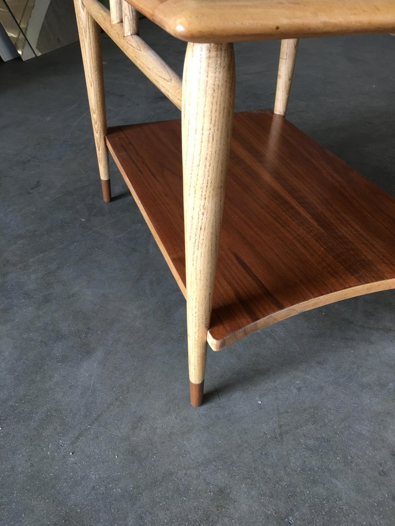 Lane Acclaim Walnut and Ash Inlay Side Table Designed by Andre Bus For Sale 2