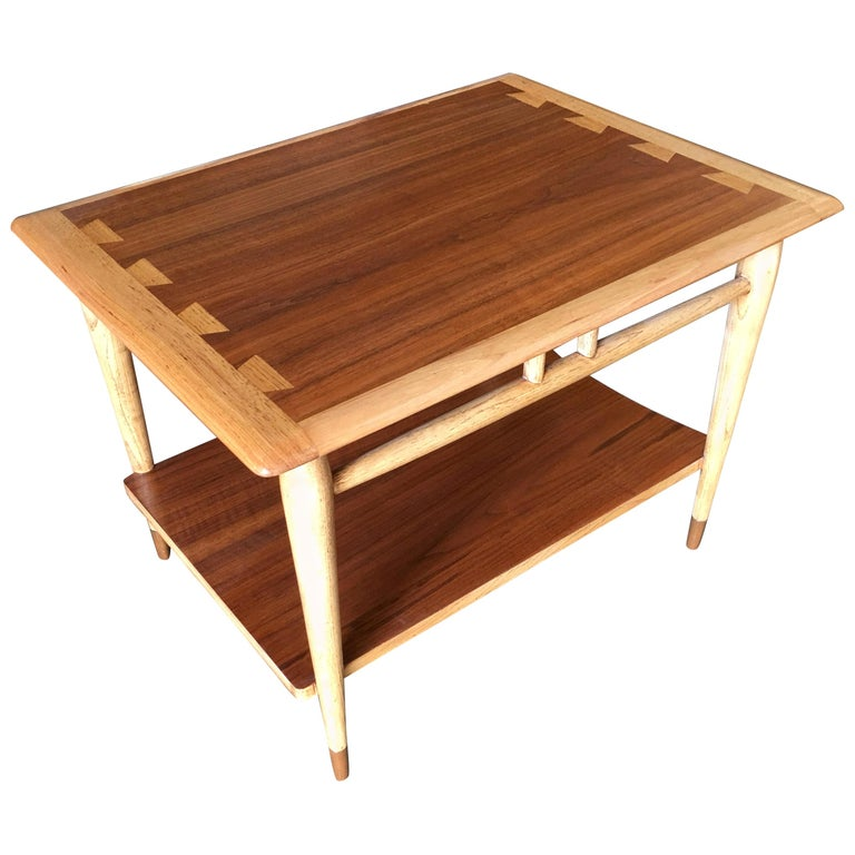 Lane Acclaim Walnut and Ash Inlay Side Table Designed by Andre Bus For Sale