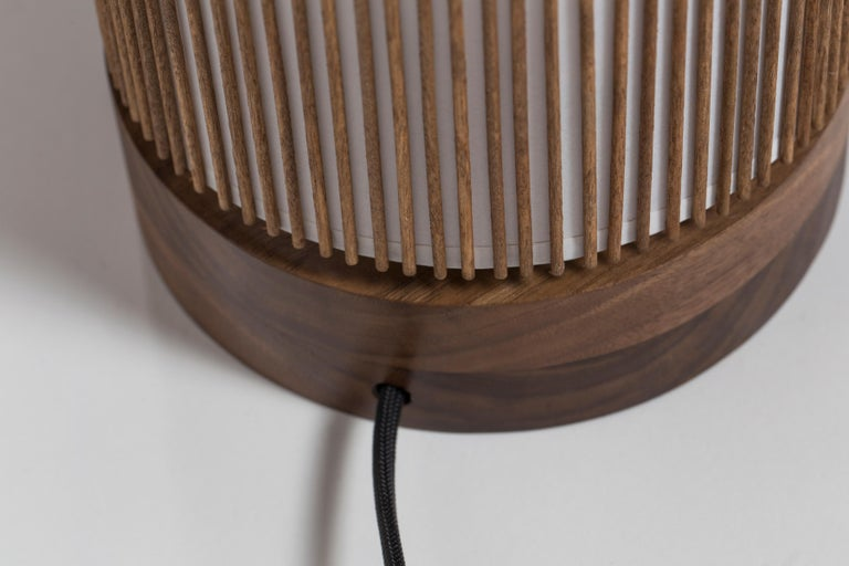 Mid-Century Modern Walnut and Birch Bedside Table Lamp by Mel Smilow For Sale