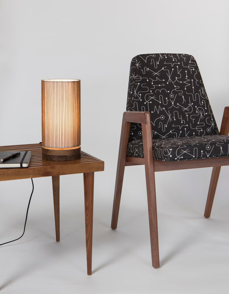 Turned Walnut and Birch Bedside Table Lamp by Mel Smilow For Sale