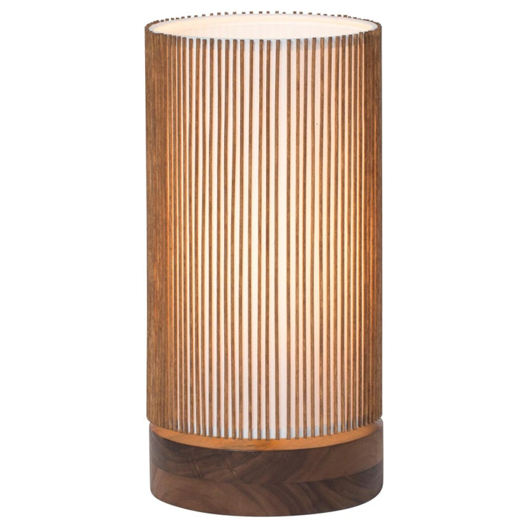 Walnut and Birch Bedside Table Lamp by Mel Smilow For Sale