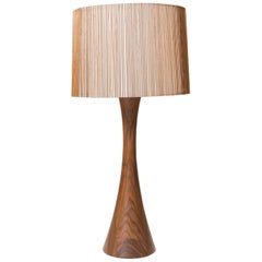 Walnut and Birch Hourglass Table Lamp by Mel Smilow