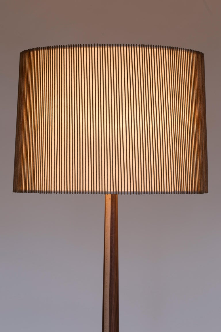 Mid-Century Modern Walnut and Birch Standing Floor Lamp by Mel Smilow For Sale